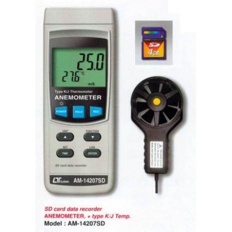 Máy đo tốc độ gió, nhiệt độ K LUTRON AM-14207D, sd card recorder