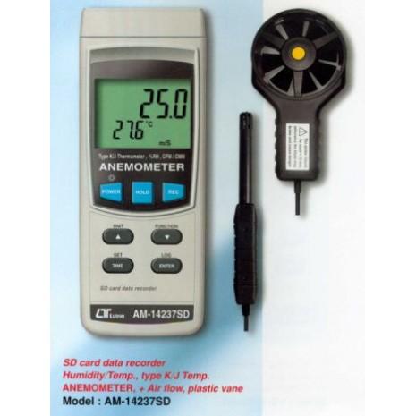 Máy đo tốc độ gió, lưu lượng gió, nhiệt độ, độ ẩm LUTRON AM-14237SD, sd card recorder