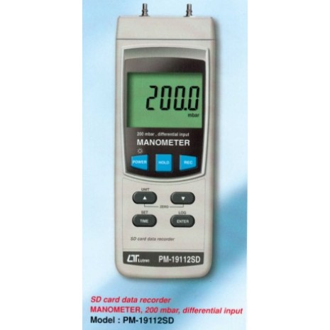 Máy đo áp suất LUTRON PM-19112SD, SD card data recorder