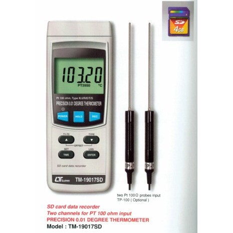 Máy đo nhiệt độ 2 kênh, Sd card data recorder LUTRON TM-19017SD