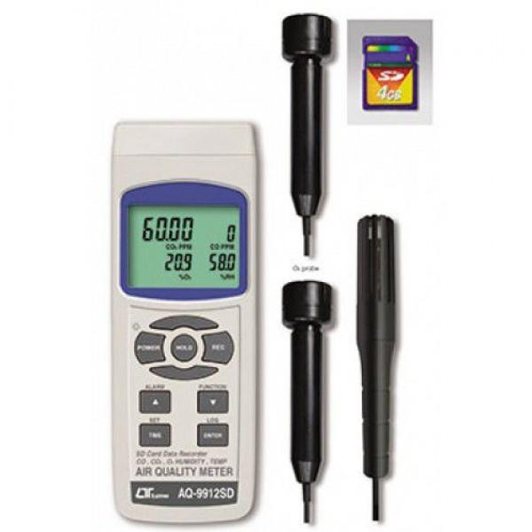 Máy đo nồng độ khí CO2, CO, O2, độ ẩm, nhiệt độ môi trường, nhiệt độ điểm sương LUTRON AQ-9912SD