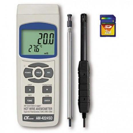 Thiết bị đo tốc độ gió, lưu lượng gió, độ ẩm, nhiệt độ, nhiệt độ điểm sương AM-4224SD