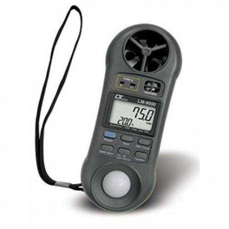 Thiết bị đo cường độ ánh sáng, áp suất, tốc độ gió, lưu lượng gió, độ ẩm, nhiệt độ môi trường, nhiệt độ điểm sương (7 in 1) LM-9000